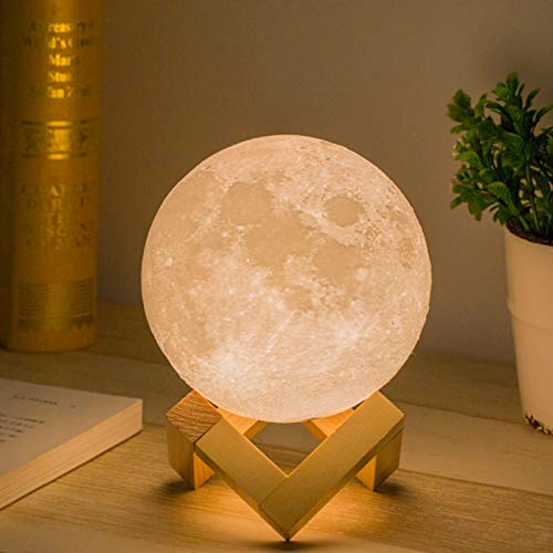 Mydethun Mondlampe 3d Druck Kinder Mond Lampe Nachtlicht,Dimmbar...