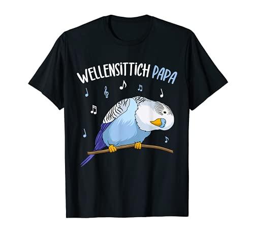 Wellensittich Papa Blausittich Vater Blau Vogelbesitzer T-Shirt
