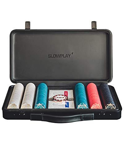 SLOWPLAY ACES Pokerset, 300 Keramik Pokerchips ohne Werte   Profi...
