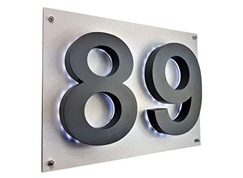 Lukadria LED Hausnummer 3D anthrazit RAL7016 Edelstahl V2A...