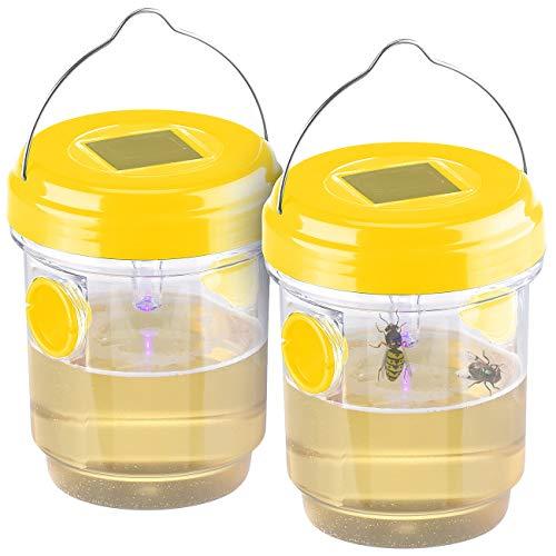 Exbuster Wespenfalle: 2er-Set giftfreie Solar-LED-Insektenfalle...