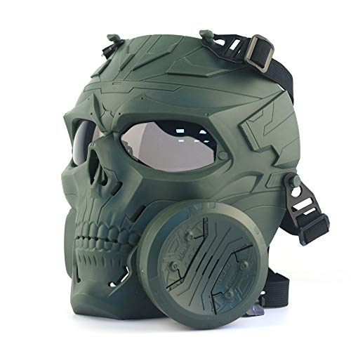 ATAIRSOFT Tactical Skull Vollmaske mit einem Abluftventilator für Airsoft Paintball Cosplay...