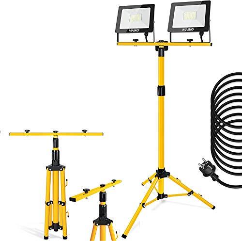 MASKO® LED Baustrahler mit Stativ 100W Doppel 2x 50W Strahler...