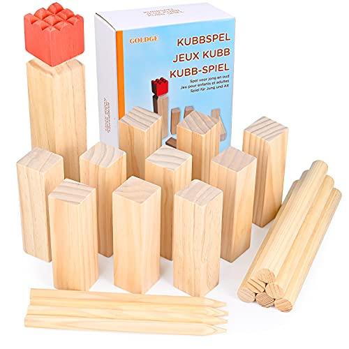GOLDGE Kubb Spiel Wikingerschach Spiel Holzfiguren Wurf Spiel...