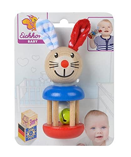 Eichhorn 100017013 - Baby Rassel mit Hasenmotiv, 5x13,5cm, FSC...