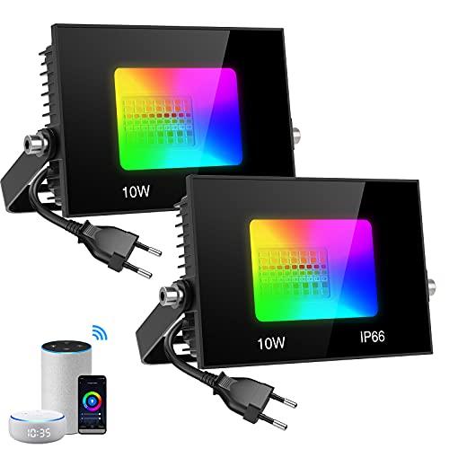 Olafus RGB LED Strahler WiFi Fluter Außen 10W, 2 Pack IP66...