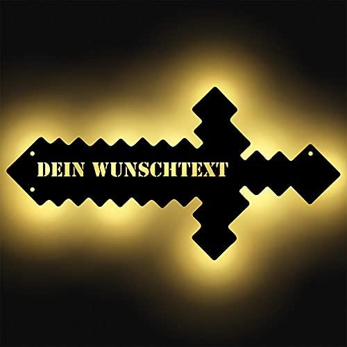 Pixel-Schwert leuchtend aus Holz personalisiert mit Namen für...