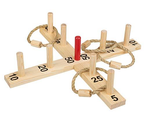 Idena 40158 - Ringwurfspiel aus Holz mit 9 Spielstäben, 4 Ringen...