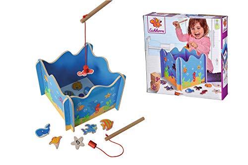 Eichhorn 100002089 - Angelspiel mit zwei Angeln, Holzspielzeug,...