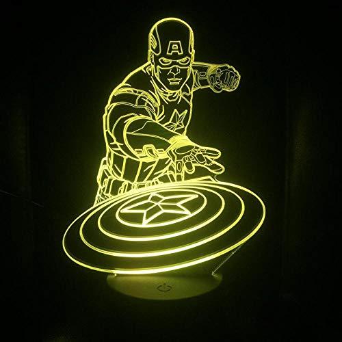 Illusionslampe Captain America 3D-Lampe Illusion Nachtlicht...