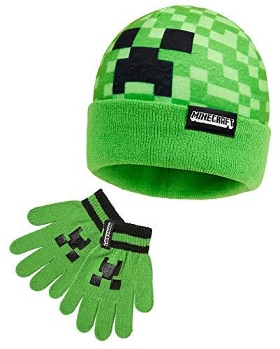 Minecraft Mütze Und Handschuhe Kinder, Warmes Wintermütze Set...