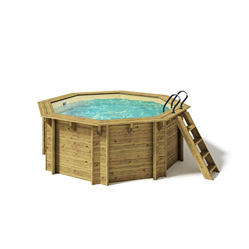 Paradies Pool® Holzpool Kalea Einzelbecken, Edelstahlleiter...