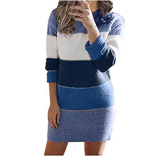 Damen Strickkleid Elegante A-Linie Kleid Pulloverkleid...
