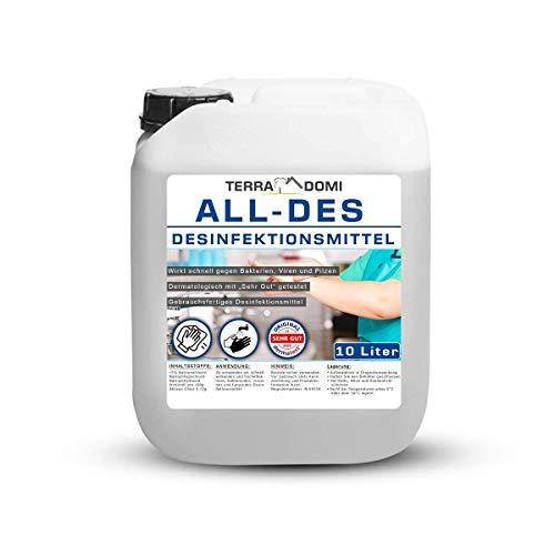 TerraDomi All-Des 10 Liter Desinfektionsmittel ohne Parfüm für Hände und...