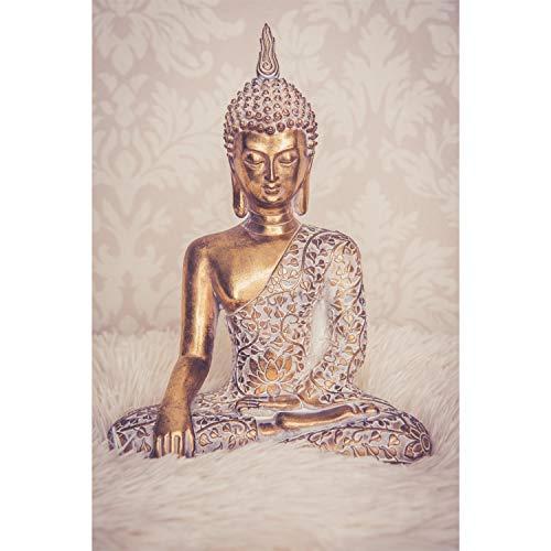 Buddha Statue Gold 30cm Dekofigur sitzend mit weißem Muster...