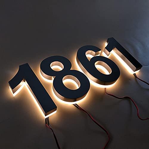16 400MM Edelstahl hinter leuchtete LED-schwimmende Hausnummern,...