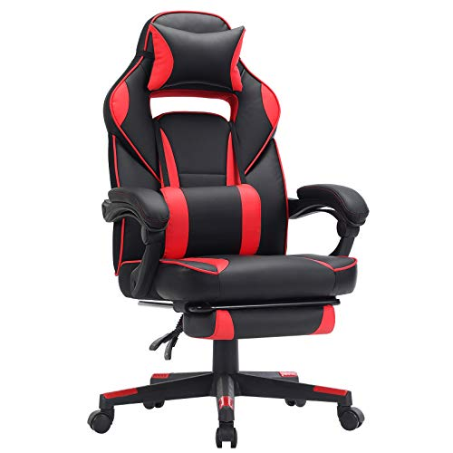 SONGMICS Gamingstuhl, Schreibtischstuhl mit Fußstütze, Bürostuhl mit Kopfstütze und...