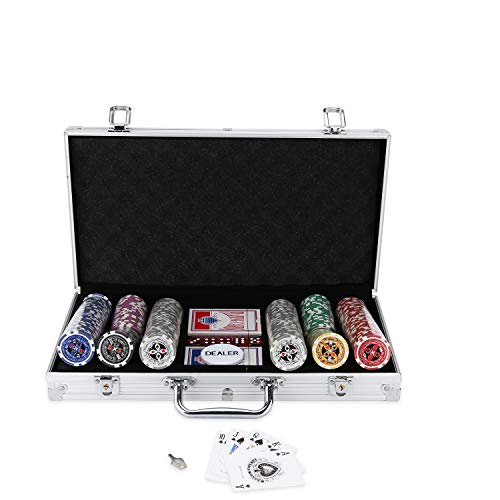 BMOT Pokerkoffer 300 Chips Laser Pokerchips Poker 11.5 Gramm , 2...