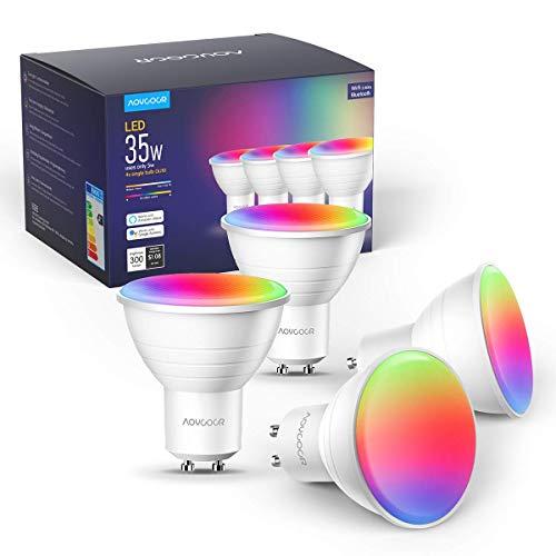 Aoycocr GU10 Smart Led Lampe Alexa Glühbirnen RGBCW, Wlan Smart...