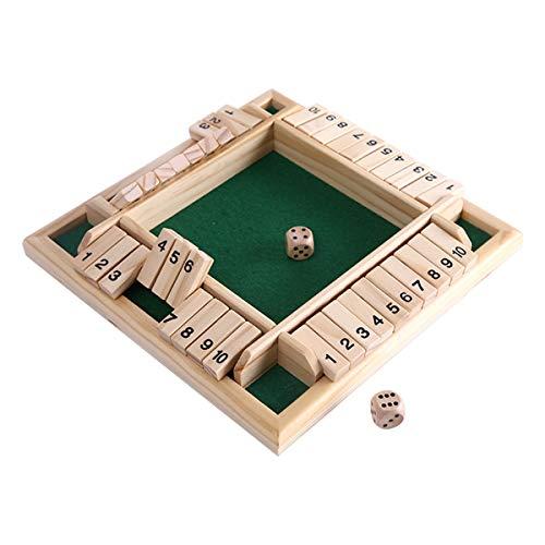 Kitchnexus Deluxe 4-Spieler Shut The Box Holz Tisch Spiel Klassisch Würfelspiel...