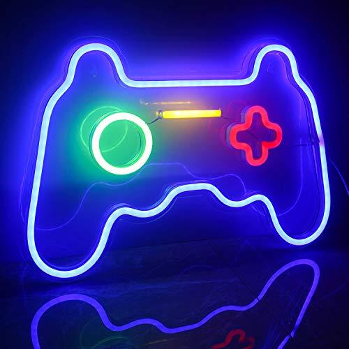 Ineonlife Led Gaming Neonlicht Gamepad Leuchtreklamen Blau Deko...