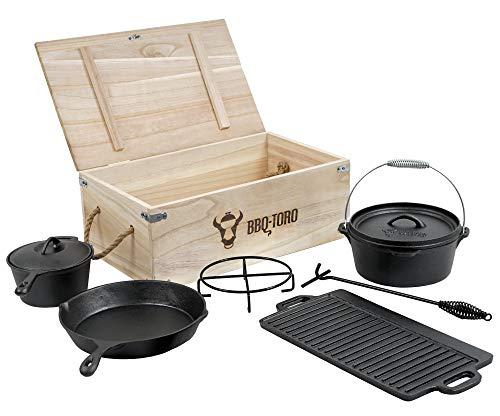 BBQ-Toro Dutch Oven Set in Holzkiste mit Dutch Oven und mehr |...