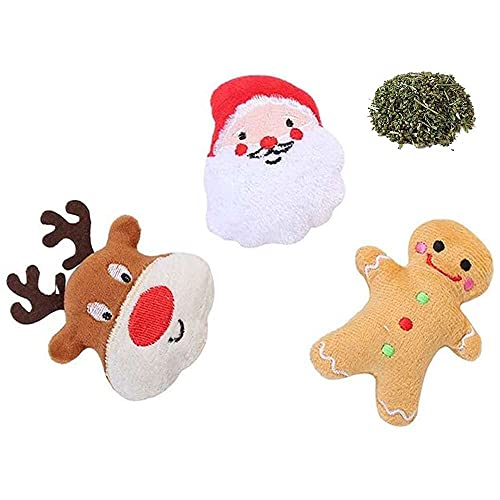 jiabushu shop 3 Stück Weihnachtsmann-Katzen-Plüsch-Spielzeug,...