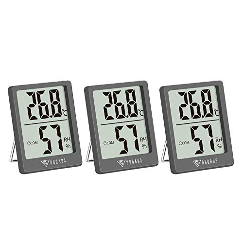 DOQAUS Digital Thermometer Innen, 3 Stück Thermo-Hygrometer...