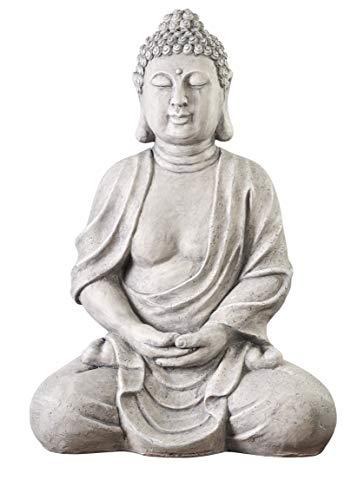 Worldconnection XXXL Großer Buddha 70 cm Steinoptik Garten Deko...