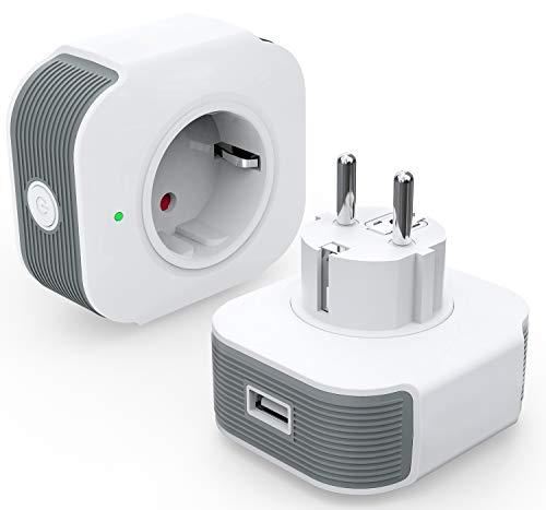Smart Steckdose Alexa Steckdose 16A mit USB, mit Timer Funktion...