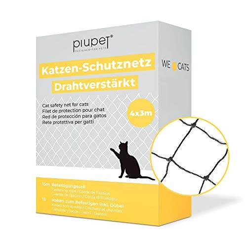 PiuPet® Katzennetz drahtverstärkt 4 x 3 m I für Balkon und...