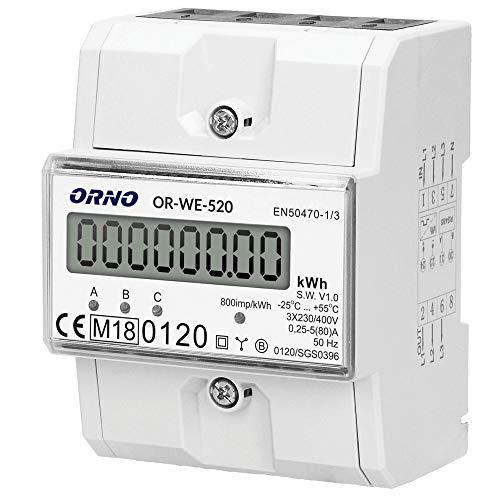 ORNO OR-WE-520 Stromzähler Hutschiene 3-Phasen-Anzeige des...