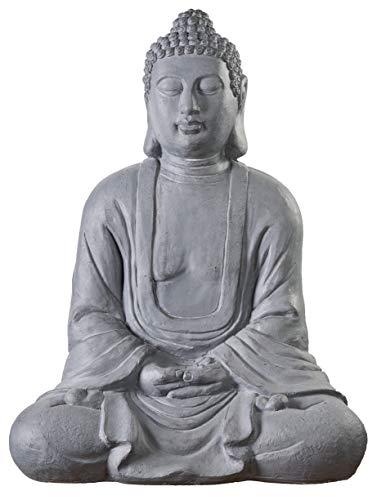 Worldconnection Riesiger XXXL Großer Buddha 80 cm Steinoptik...