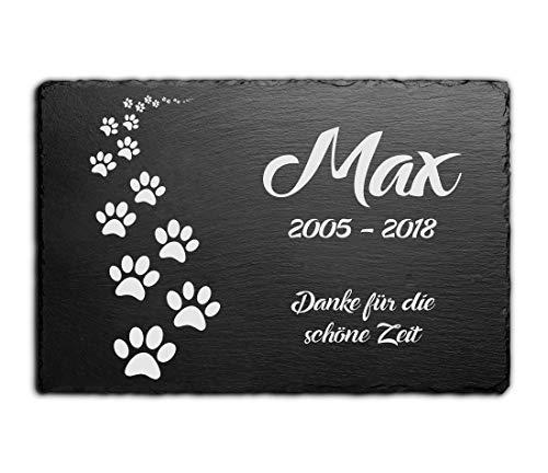 CHRISCK design Gedenktafel für Hunde mit Gravur Grabstein Pfoten...