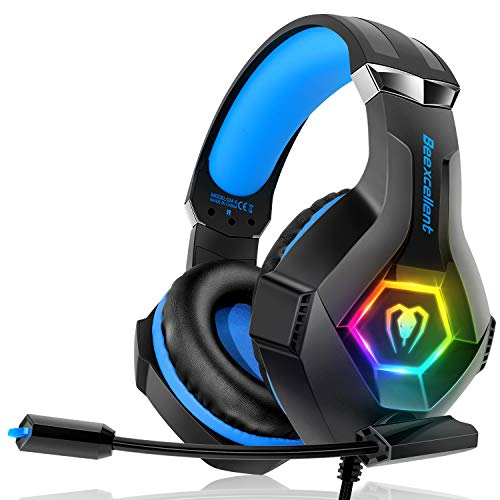 Gaming Headset für PC PS4 Xbox One, 7 Farbe RGB-LED Licht,...