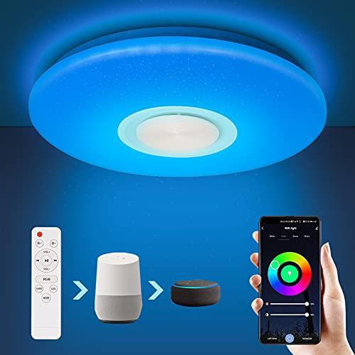 SONUG Smart LED Deckenleuchte 24W mit Bluetooth Lautsprecher...