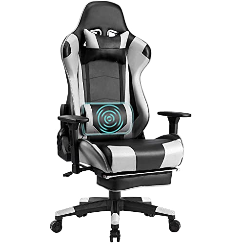 Wolmics Memory-Schaum Gaming Stuhl mit Fußstütze, Verstellbare...