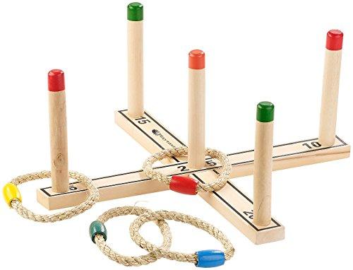 Playtastic Wurfspiel: Outdoor-Ringwurfspiel aus Holz mit 4...