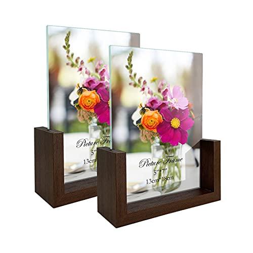 RLAVBL Doppelseitiger Bilderrahmen 13x18 cm aus Glas mit Einer...