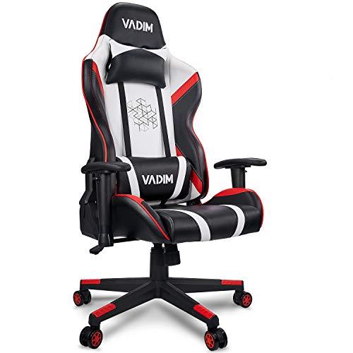 VADIM Racing Chair Weiß/Roter Gaming-Stuhl Für Das Home Office, Ergonomischer Bürostuhl Mit...