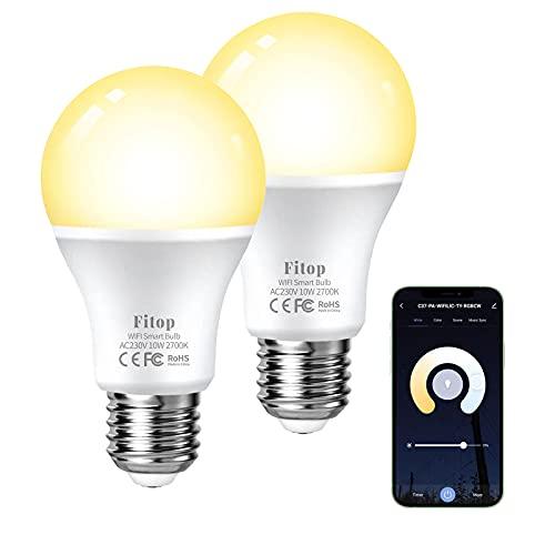 Alexa Glühbirnen Smart LED Lampen E27, Fitop WLAN Glühbirne...