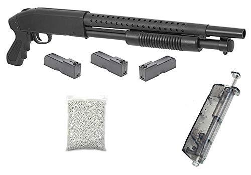 KOSxBO realistische Airsoft Schrotflinte, schwarz - Länge 670mm - Kaliber 6mm -