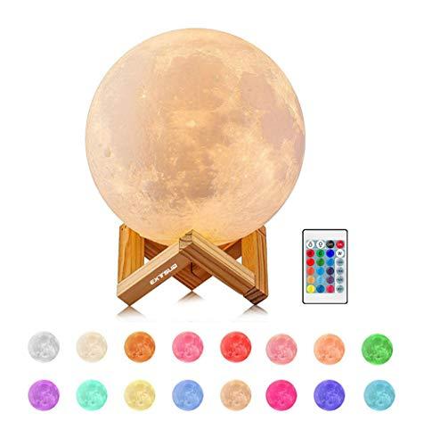 EXTSUD 15cm Mond Lampe 16 Farben 3D Mondlampe mit Fernbedienung...