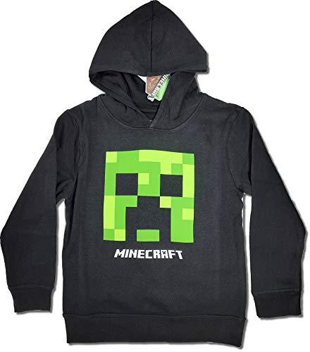Minecraft Jungen Creeper Hoodie Kapazenpullover (Schwarz, 140)