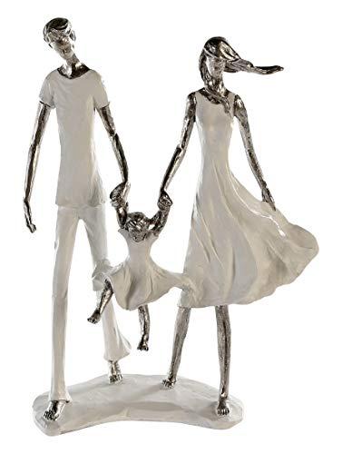 Casablanca - Skulptur Family - aus Poly weiß-Silber weiße Basis...