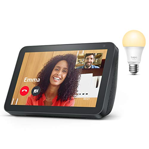 Echo Show 8, Anthrazit Stoff + TP-Link Tapo smart Lampe (E27),...