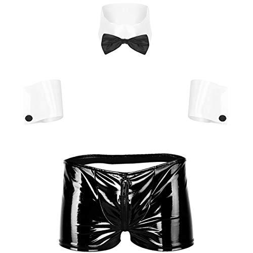 YUUMIN Kellner Barkeeper Kostüm Herren Outfit Sexy Fliege Kragen...