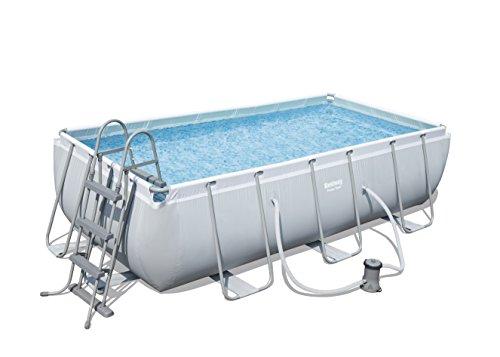 Bestway Frame Pool Power Steel, Set, hellgrau, rechteckig mit...
