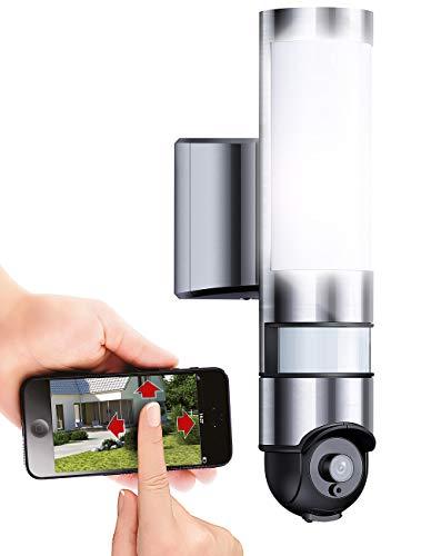 VisorTech Aussenkamera: LED-Außenwandleuchte & WLAN-HD-Kamera...