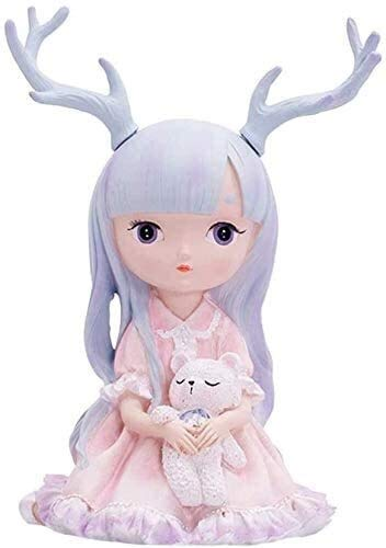 Skulptur Deko Cartoon Geweih Mädchen Statue Kreative Puppe Tier...